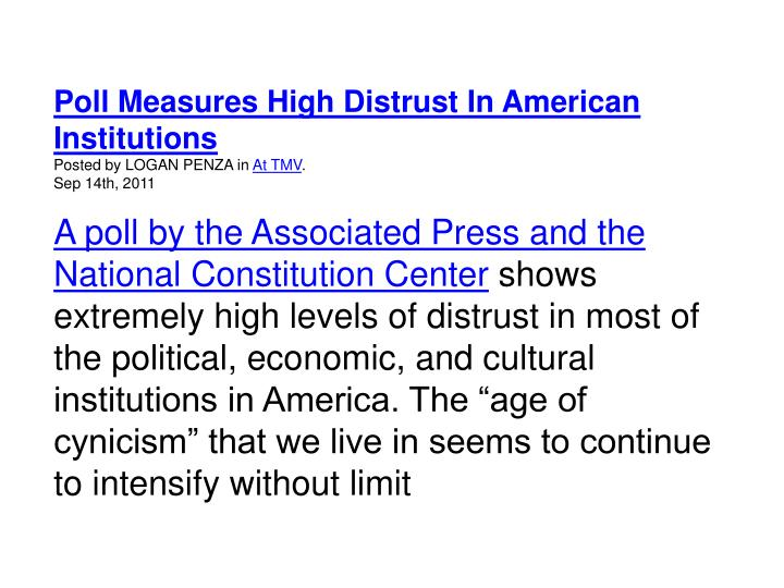 Poll Measures High Distrust In American Institutions