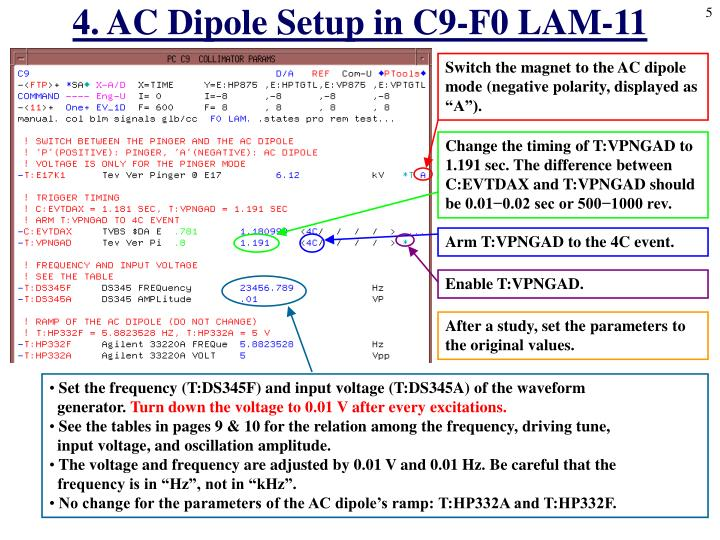 4. AC Dipole Setup in C9-F0 LAM-11