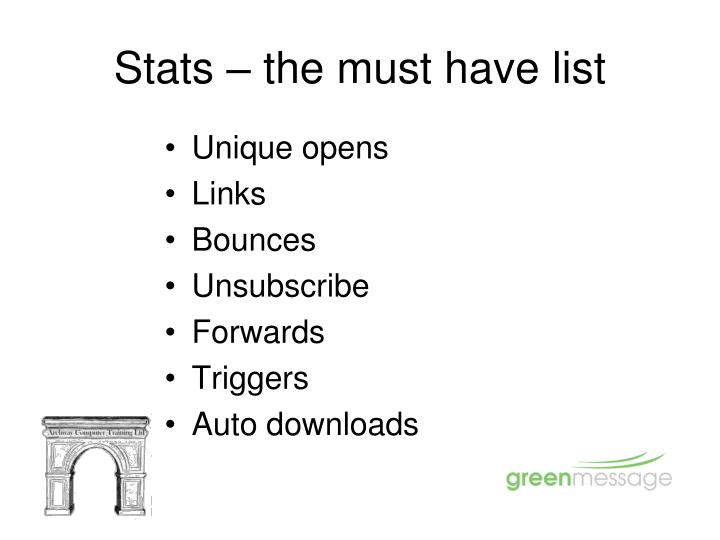 Stats – the must have list