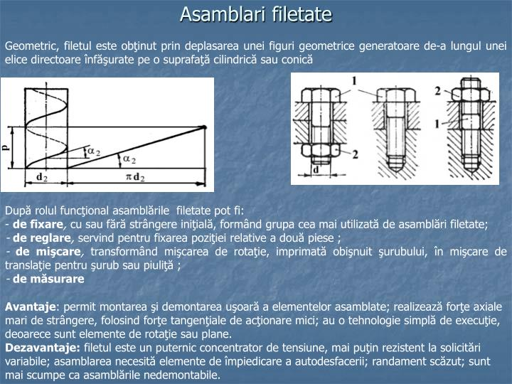 Asamblari filetate