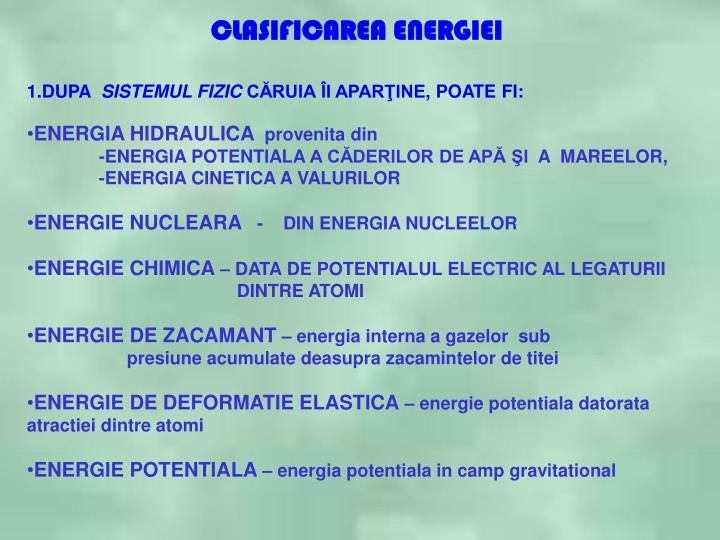 CLASIFICAREA ENERGIEI