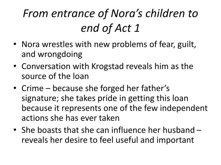 From entrance of Nora's children to end of Act 1
