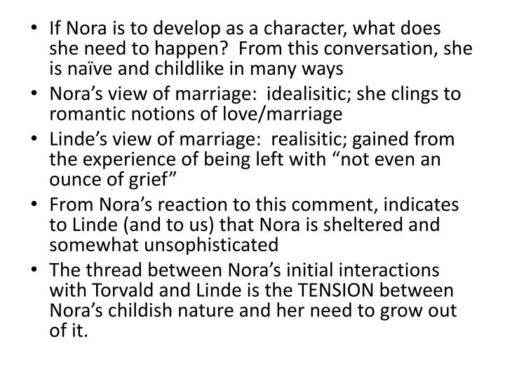 If Nora is to develop as a character, what does she need to happen?  From this conversation, she is naïve and childlike in many ways