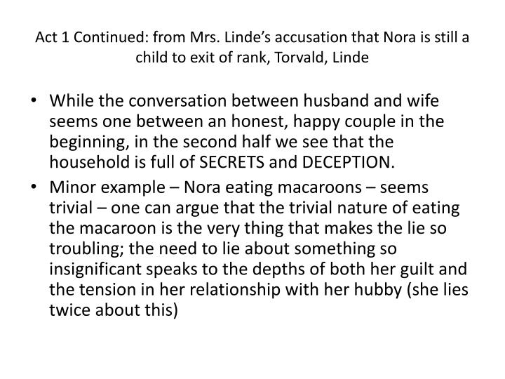 Act 1 Continued: from Mrs. Linde's accusation that Nora is still a child to exit of rank, Torvald, Linde