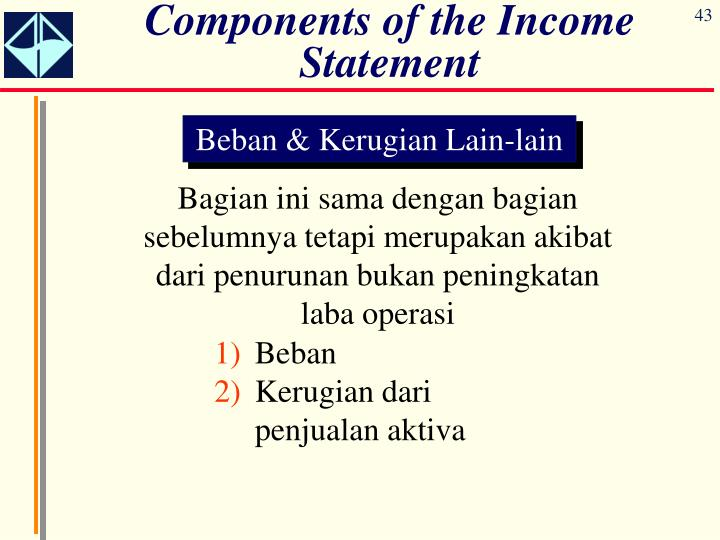 Components of the Income Statement