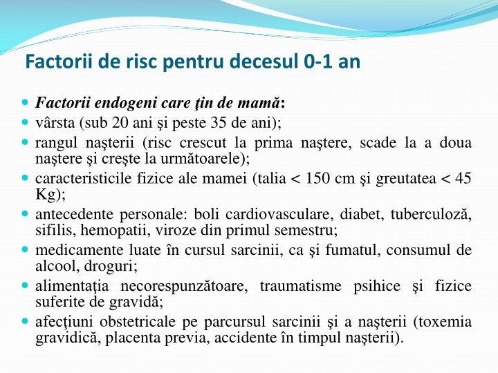 Factorii de risc pentru decesul 0-1 an
