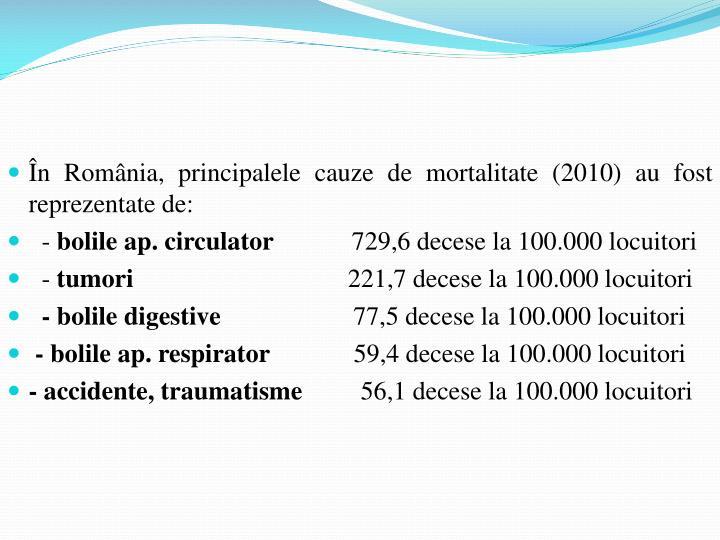 În România, principalele cauze de mortalitate (2010) au fost reprezentate de: