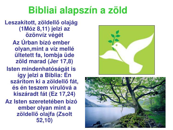 Bibliai alapszín a zöld