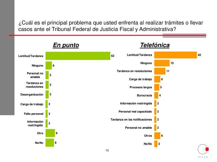 ¿Cuál es el principal problema que usted enfrenta al realizar trámites o llevar casos ante el Tribunal Federal de Justicia Fiscal y Administrativa?