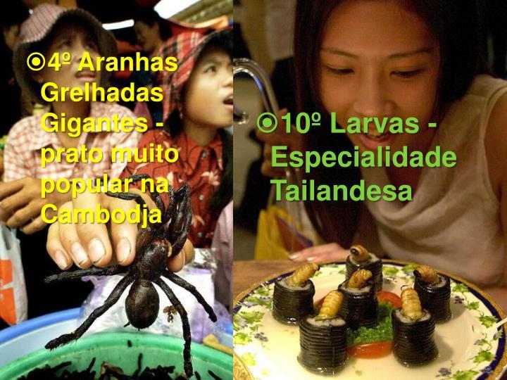 4º Aranhas Grelhadas Gigantes - prato muito popular na