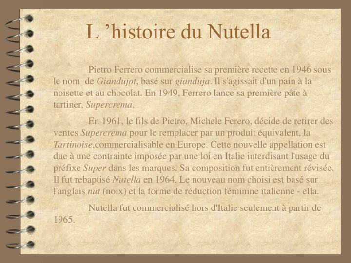 L'histoire du Nutella