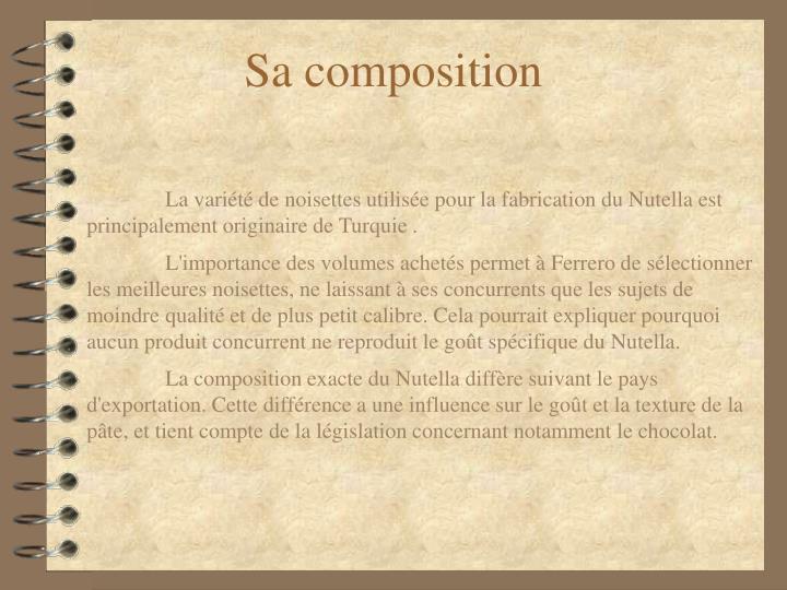 Sa composition