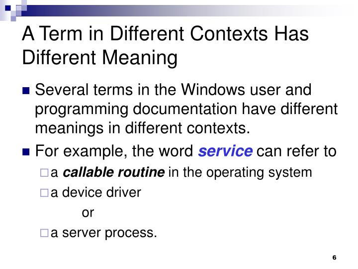 A Term in Different Contexts Has Different Meaning