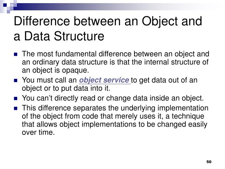 Difference between an Object and a Data Structure
