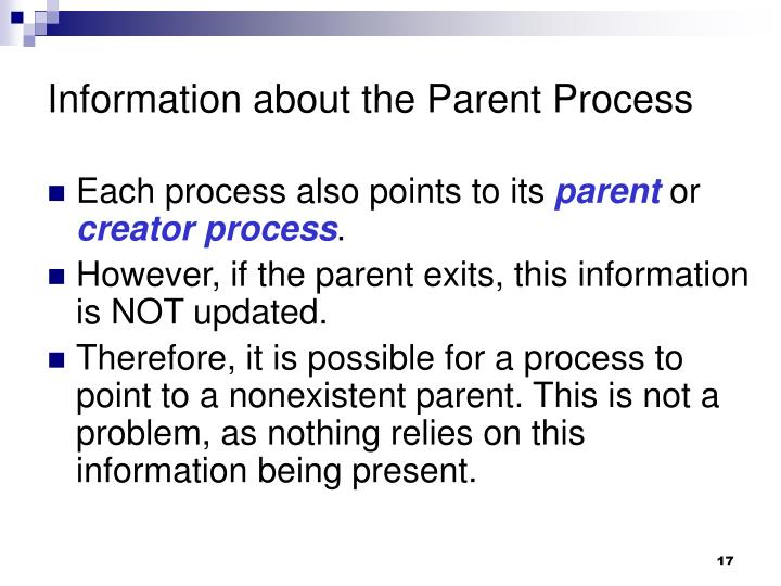 Information about the Parent Process