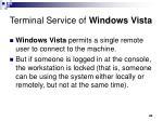 terminal service of windows vista