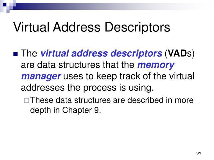 Virtual Address Descriptors