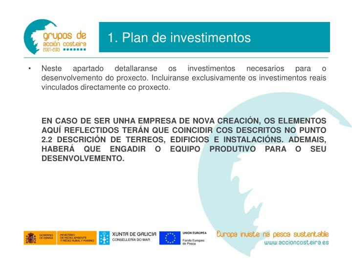 1. Plan de investimentos