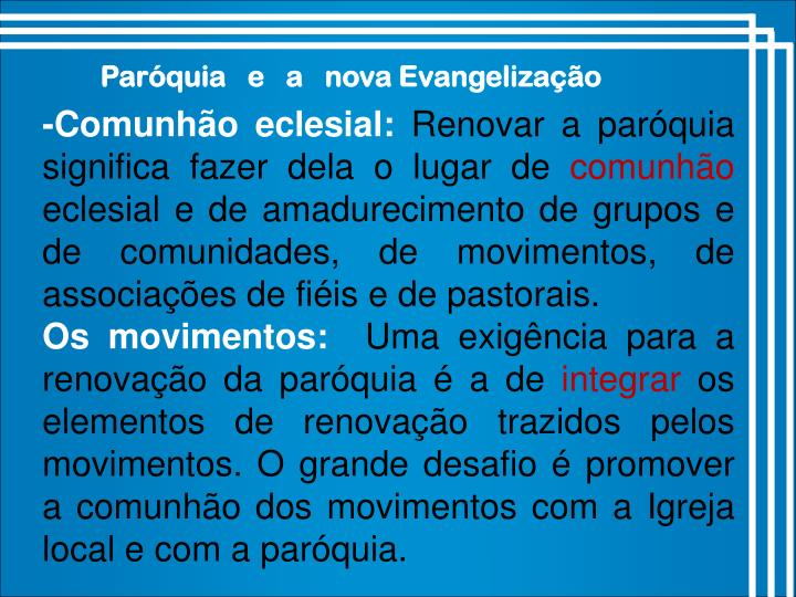 Paróquia   e   a   nova Evangelização