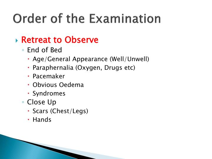 Order of the Examination