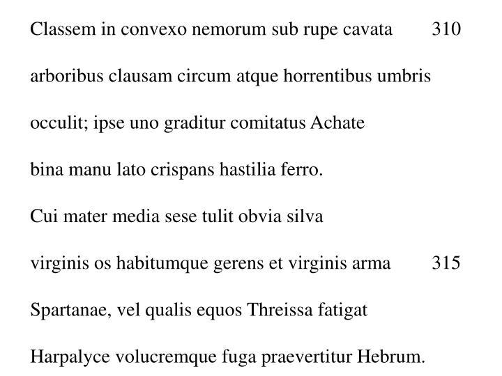 Classem in convexo nemorum sub rupe cavata 310
