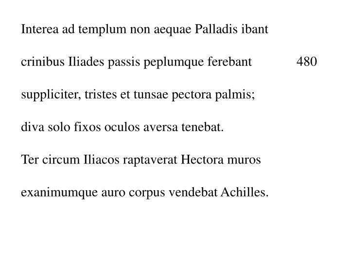 Interea ad templum non aequae Palladis ibant