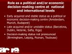 role as a political and or economic decision making centre at national and international levels