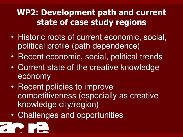 WP2: Development path and current state of case study regions