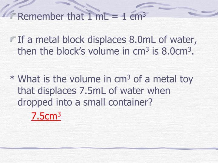 Remember that 1 mL = 1 cm