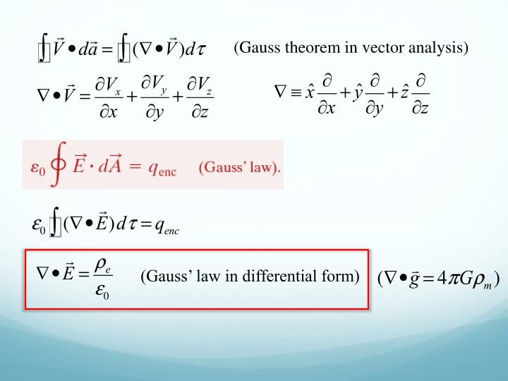 (Gauss theorem in vector analysis)