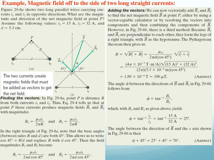 Example, Magnetic field off to the side of two long straight currents: