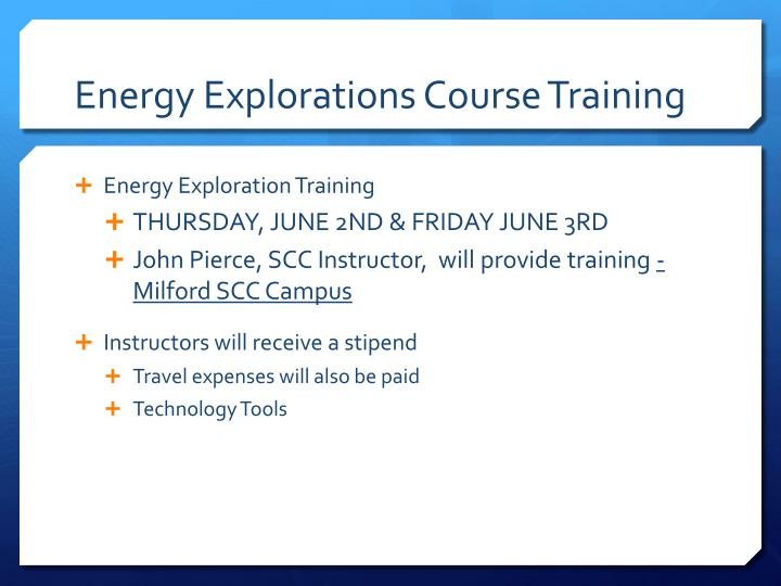 Energy Explorations Course Training