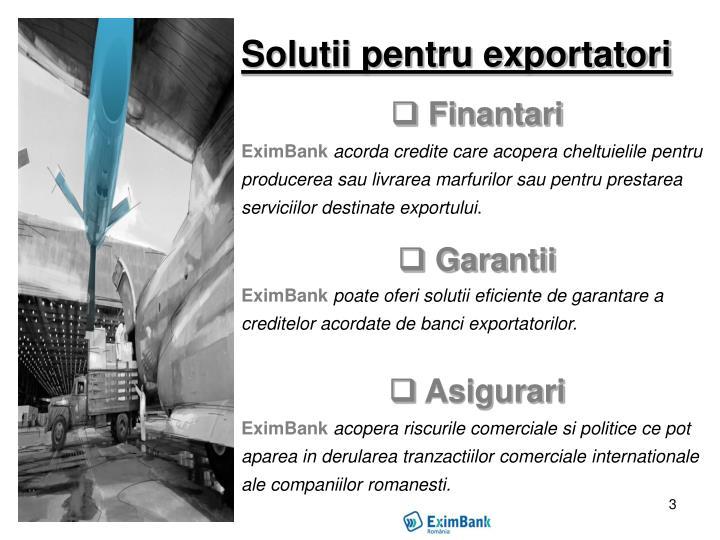 Solutii pentru exportatori
