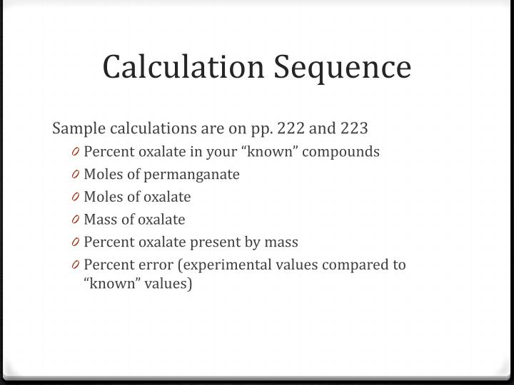 Calculation Sequence