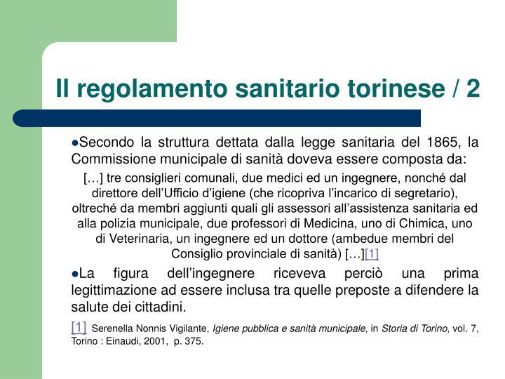 Il regolamento sanitario torinese / 2