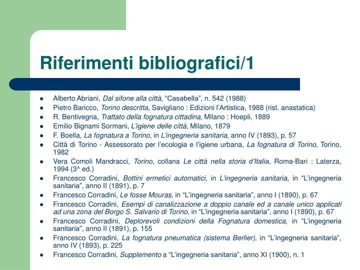 Riferimenti bibliografici/1