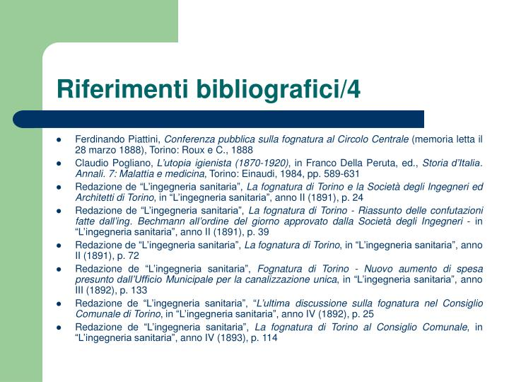Riferimenti bibliografici/4