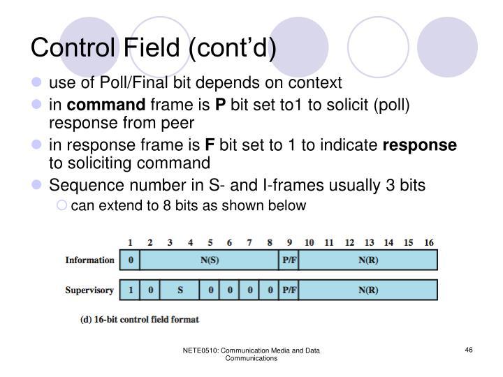 Control Field (cont'd)