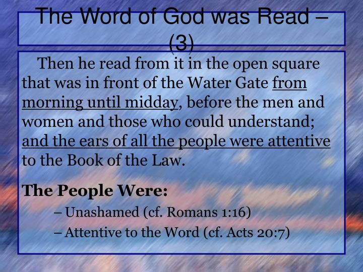 The Word of God was Read – (3)