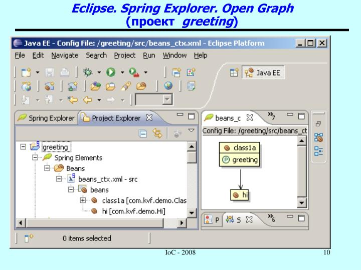 Eclipse. Spring Explorer. Open Graph