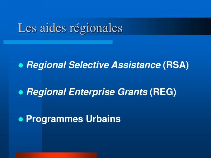 Les aides régionales