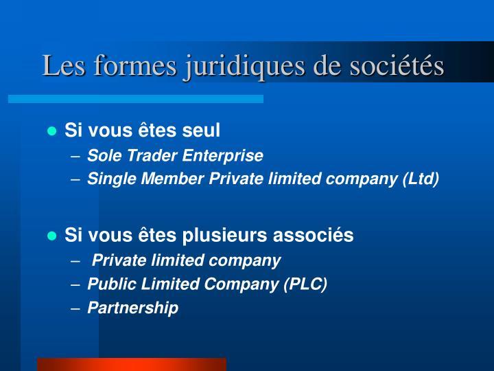 Les formes juridiques de sociétés