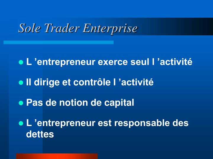 Sole Trader Enterprise