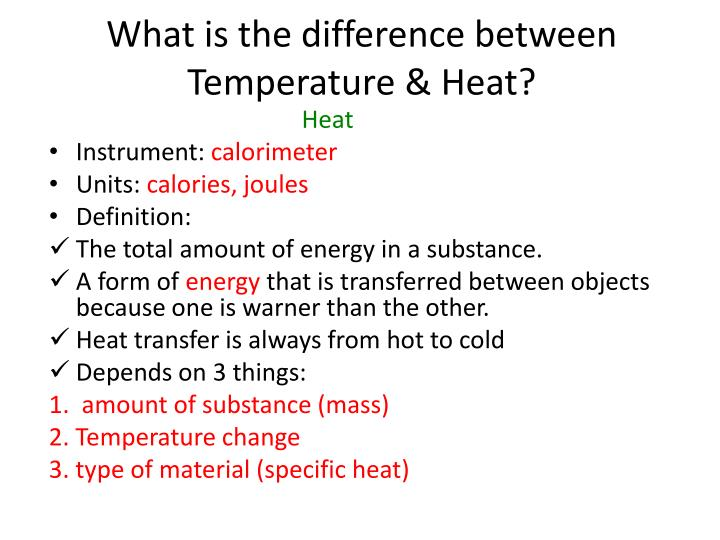 What is the difference between Temperature & Heat?