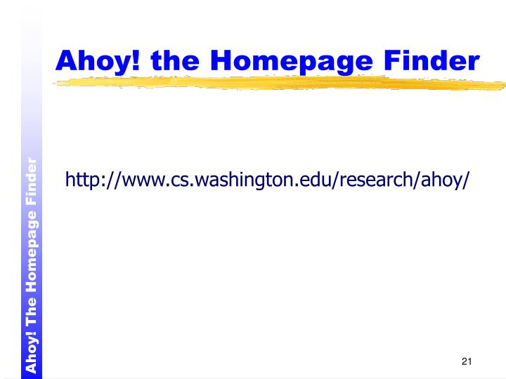Ahoy! the Homepage Finder