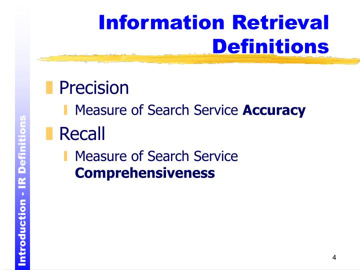 Information Retrieval Definitions