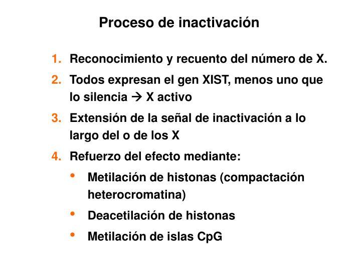 Proceso de inactivación