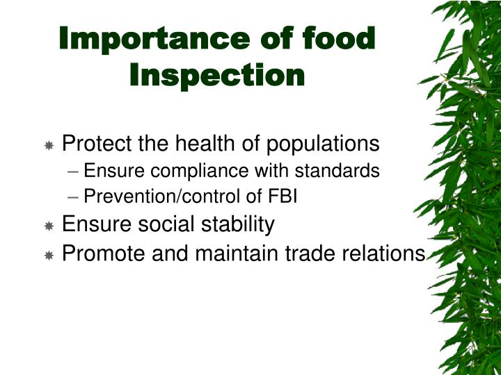 Importance of food inspection