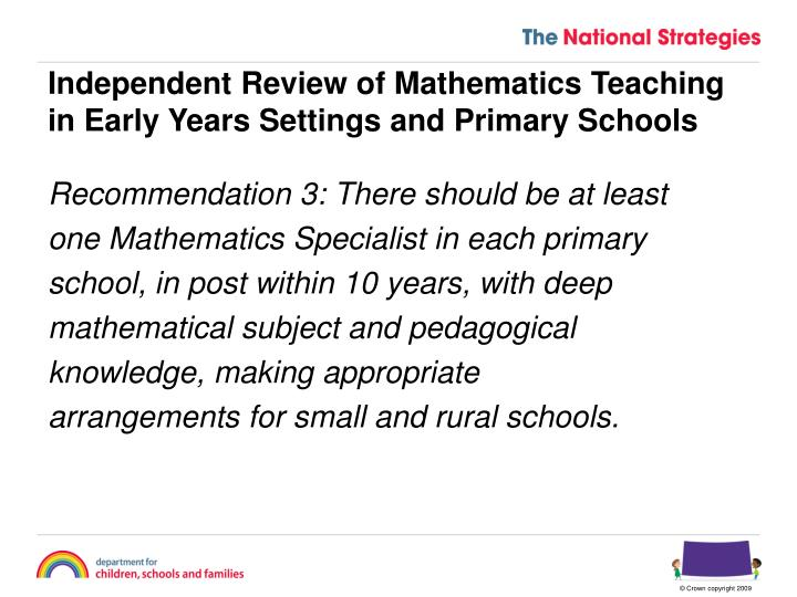 Independent review of mathematics teaching in early years settings and primary schools