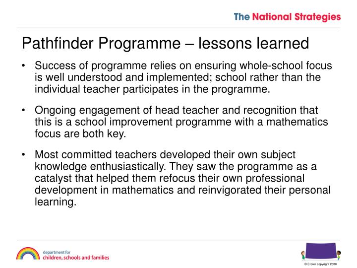 Pathfinder Programme – lessons learned